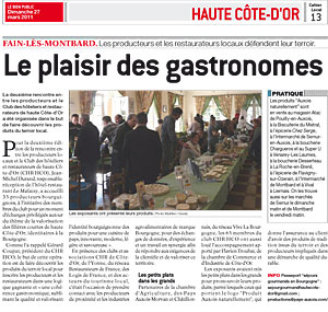 Rencontre entre producteurs et restaurateurs de haute cote d'or - avril 2011