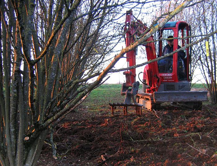 Démonstration herse Becker dans une plantation près de Chaumont